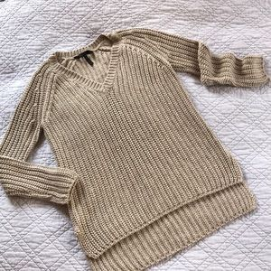BCBG Emmy v-neck hi lo almond beige knit sweater